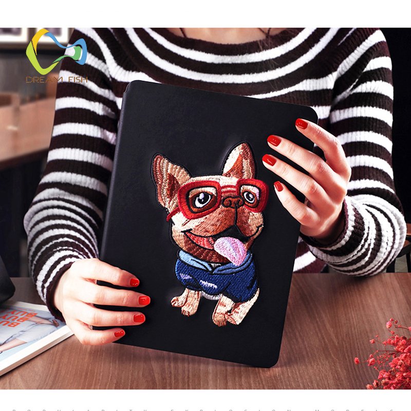 DREAM FISH Fashion Embroidery dog Cover For Apple iPad Air 2 Case Flip Stand Funda cases PU Leather Shell for ipad tablet