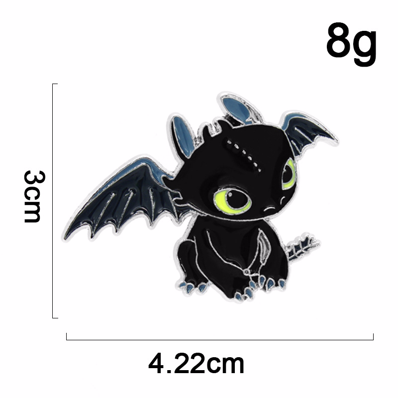 New 2Colors Cartoon Toothless How to Train Your Dragon Enamel Pins Badges Brooch