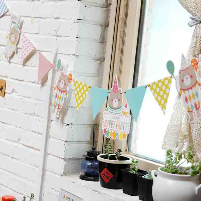 Animal Banner Cartoon Party Baby Shower Childrens Day Flag Banner Garland Bunting Birthday Party Bunting kid Room Decoration