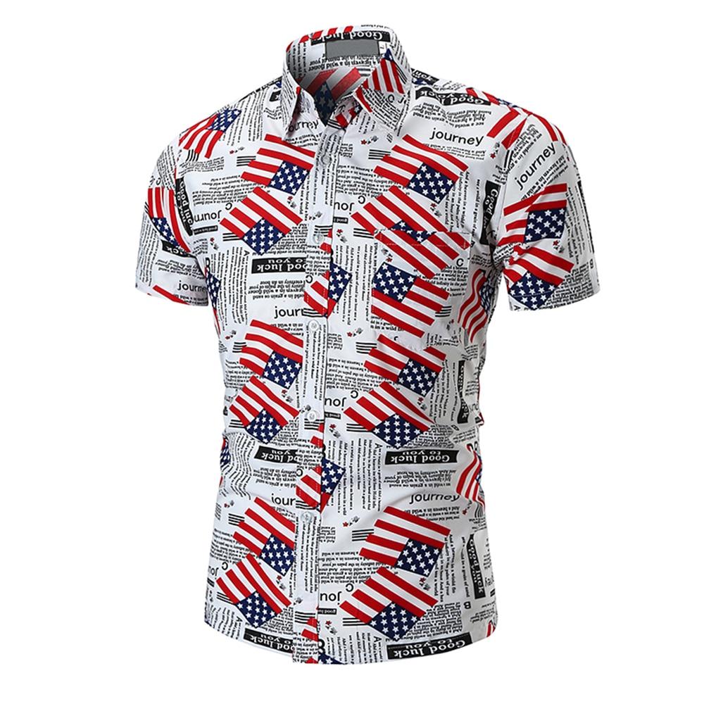 b8ae87499a0 2018 New Mens Summer Holiday Beachwear Short Sleeve Slim Fit American Flag  Letter Printed Casual Button Down Hawaiian Shirts