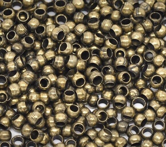 DoreenBeads Alloy Crimp Beads Round Antique Bronze 1.5mm 2.5mm( 1/8