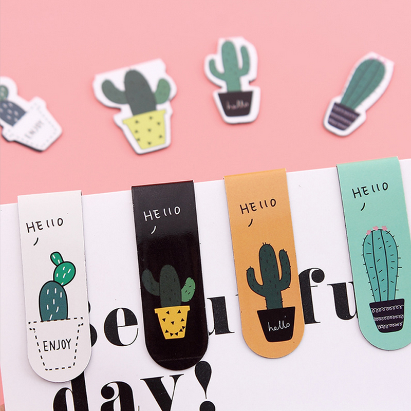 1 Pcs/lot Plant Cactus Magnetic Force Bookmark Material Escolar Magnetic Bookmarks For Book Stationery School Supplies Papelaria
