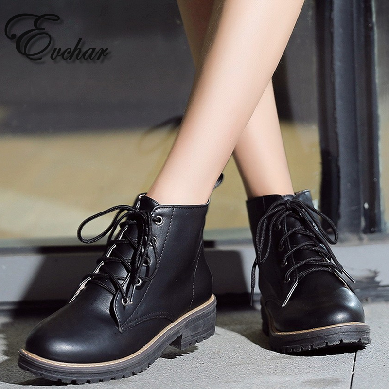 Casual Style Lace up Ankle Boots Square Med Heels Thick Platform Shoes Woman  Autumn Winter Boots black red Size 34-43 plus size 34 43 2016 patch color ankle boots thick high heels skid proof platform shoes woman rivets lace up fall winter boots