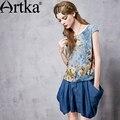 Artka Women's Spring New Loose Style Floral Printed Chiffon Shirt Fashion O-Neck Short Sleeve Comfy All-match Shirt SA10865C