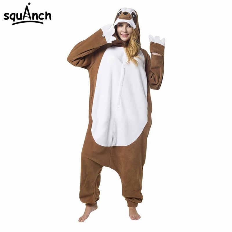 Brown Sloth Onesie Animal Kigurumi Cartoon Pajama Adult Unisex Women Home  Wear Polar Fleece Jumpsuit Funny 812f95598