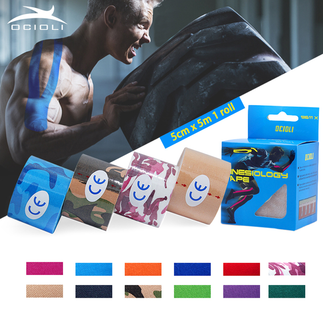 5cm*5m Elastic Bandage Cotton Adhesive Kinesio Tape Sport Injury Muscle Strain Protection Kinesiology Tapes Taping Kinesio