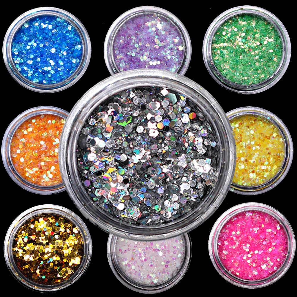 LOLEDEสีสันสีขาวสีเล็บเล็บเล็บArt Glitter Flakes UV Gel Starหัวใจดอกไม้Pailletteตกแต่งเครื่องมือ
