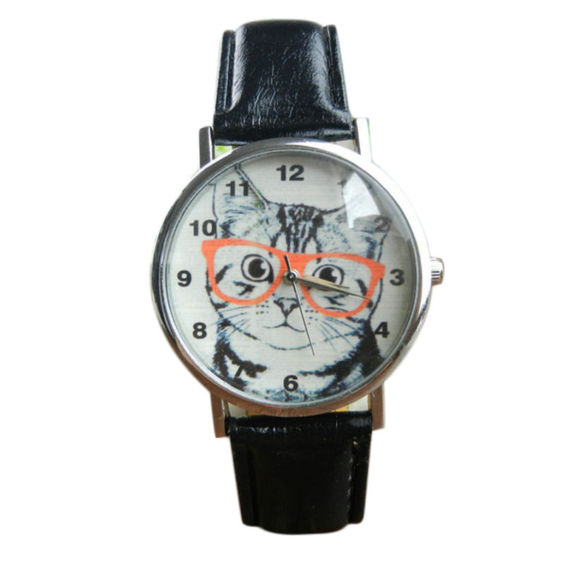 Cat Pattern Dial Ladies Watch Leather Belt Analog Quartz Female Watch Fashion Casual Woman Watch Personality Lady Clock Gift  #W