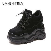Women High Platform Shoes New Breathable Height Increasing 12 CM Thick Sole Trainers Sneakers Woman Deportivas Mujer