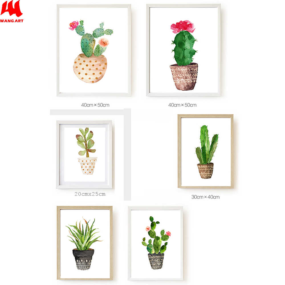 WANGART Watercolor Cactus Plant Nordic Poster Wall Art Canvas Painting Picture for Living Room Modern Abstract Home Decor JY31