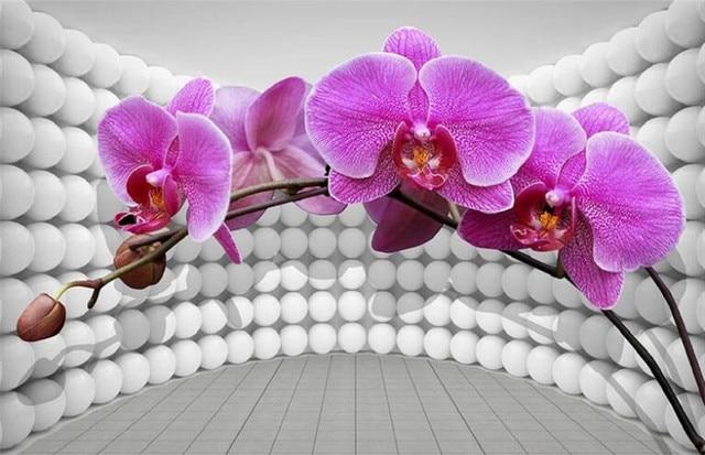 Обои 3d фрески на заказ гостиная спальня домашний Декор 3d космическая бабочка Орхидея фиолетовый фон настенная бумага