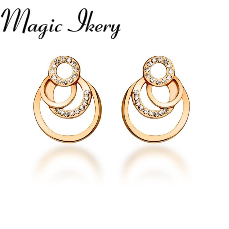 fe7226d4bbab Magic ikery oro color moda importados cristal pendiente declaración vintage  Pendientes de broche para las mujeres regalos donuts mky5631