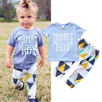 Newborn Baby Boys Summer Clothes Clothing Kids Short Sleeve Tops T-shirt Long Pants Leggings Outfits Set Cotton sun moon kids boys t shirt summer