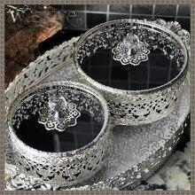 Уточнение ретро металл стекло ящик для хранения ювелирных изделий Классический домой коробка для хранения