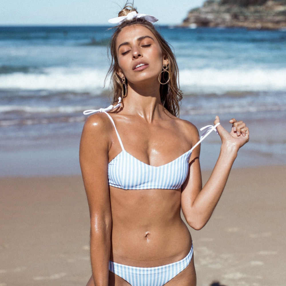 07e4b72abf Blue Stripe Bikini Split Sexy Cute Women Girls Swimwear Beach Holiday  Swimwear Bikinis Set Women Swimsuit