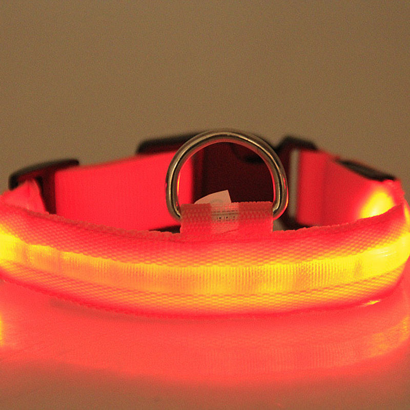 Fashion candy color LED Dog Collar Flashing In Dark Nylon 3 Mode Lighting Safety LED Pet Collar Wide Luminous Pet Products 4