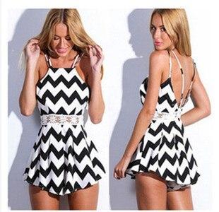 ca65c5e4c33 Women Sexy Black And White Striped Halter Jumpsuit Rompers Plus Size Combinaison  Short Femme Combishort Playsuit Bodysuit
