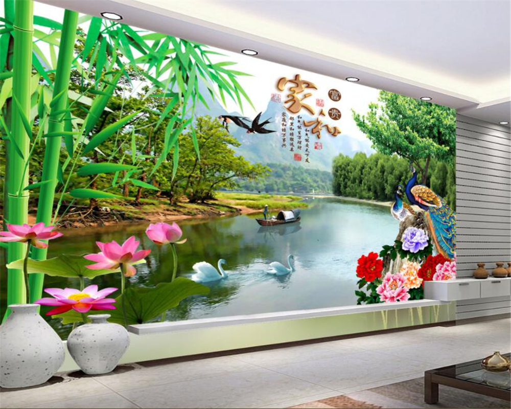 Custom 3d Mural Wallpapers Hd Landscape Mountains Lake: Beibehang Custom Wallpaper HD Murals HD Lotus Peony
