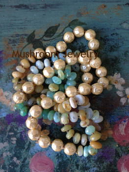 Knot Natural Amazonite stone Necklace long Boho Layered Necklace Glass Pearl Necklace Jewelry