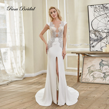 Rosabridal Mermaid wedding dress 2018 soft satin boat neck Cap Sleeves outside leg slit Appliques beading Trumpet bridal Gown