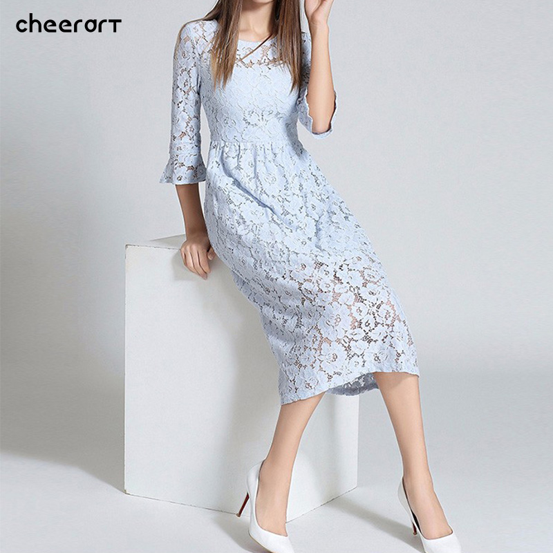 Autumn Long Lace Dress Cut Out Pink Blue Fit And Flare Sleeve Bodycon Tunic Evening Party Midi Dress European Style autumn long lace dress cut out pink blue fit and flare sleeve bodycon tunic evening party midi dress european style