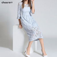 Autumn Long Lace Dress Cut Out Pink Blue Fit And Flare Sleeve Bodycon Tunic Evening Party Midi Dress European Style