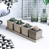 4Sets/Lot Creative Rectangle Vase Concrete Planter Mold Handmade Craft Home Decoration Cement Flowerpot Molds