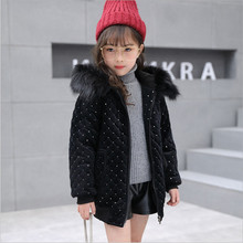 4-13 Year Girl Winter Coat Cotton Jackets Casual Hooded Solid Warm Gold Velvet Wadded Jacket 120-160 Black Pink 2018 New Arrival