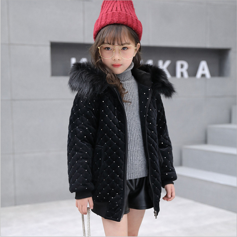 Girl Winter Coat Cotton Jackets Casual Hooded Solid Warm Gold Velvet Wadded Jacket 120-160 Black Pink 2017 New Arrival women winter coat leisure big yards hooded fur collar jacket thick warm cotton parkas new style female students overcoat ok238