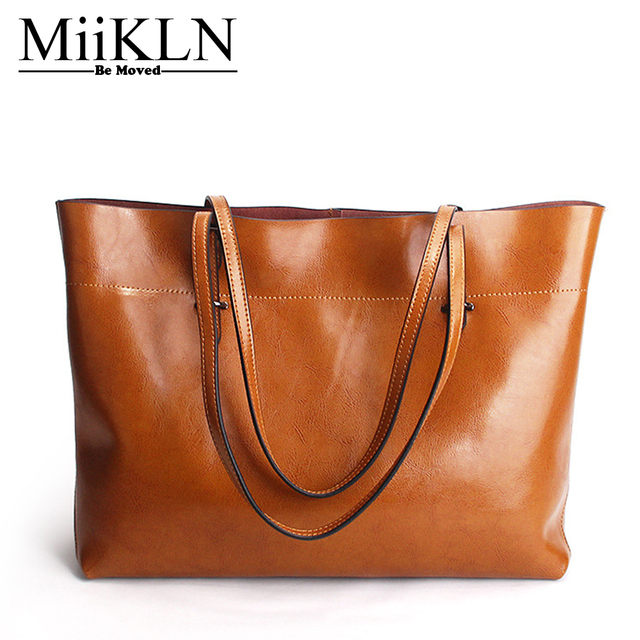 MiiKLN Red Black Blue Yellow Cow Leather Big Women Handbag Simple Style Genuine  Leather Casual Tote Shoulder Bag For Women a726aa515dfe7