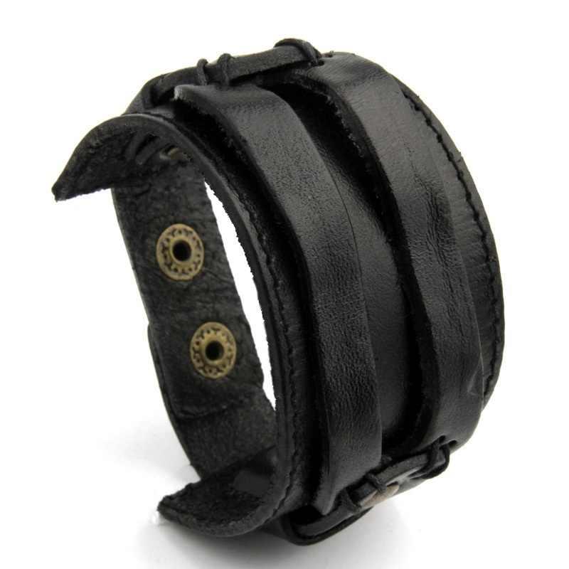 BAMOER skórzany mankiet podwójne szeroka bransoletka liny bransoletki brązowy dla mężczyzn moda mężczyzna bransoletka biżuteria unisex prezent PI0296