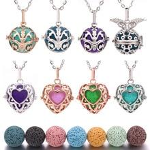 16mm Felt Balls Lava Stone Aromatherapy Antique Vintage Necklaces Locket Perfume Essential Oil Diffuser Necklace
