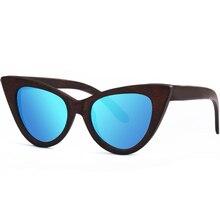 """AOOFFIV Women  wood glasses lens cat's eye bamboo glasses frame glasses as the new design for 2017 """"UV400 protection ZB76."""