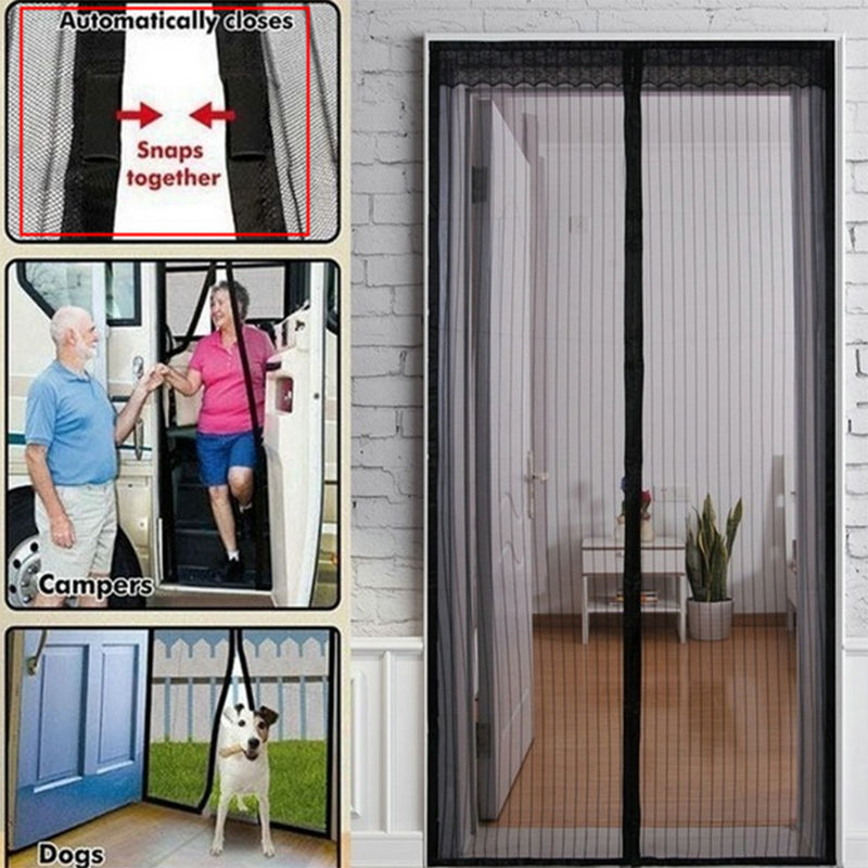 Magnetic Screen Door Black Hands-Free Magnetic Soft Door Durable Fly Screen Anti Mosquito Bug Mesh Curtain Summer Style Mesh Net