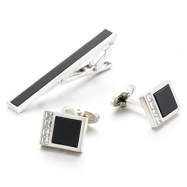 Brass Necktie Tie Bar Cufflinks Clip High Cuff Links Pin Jewelry 22