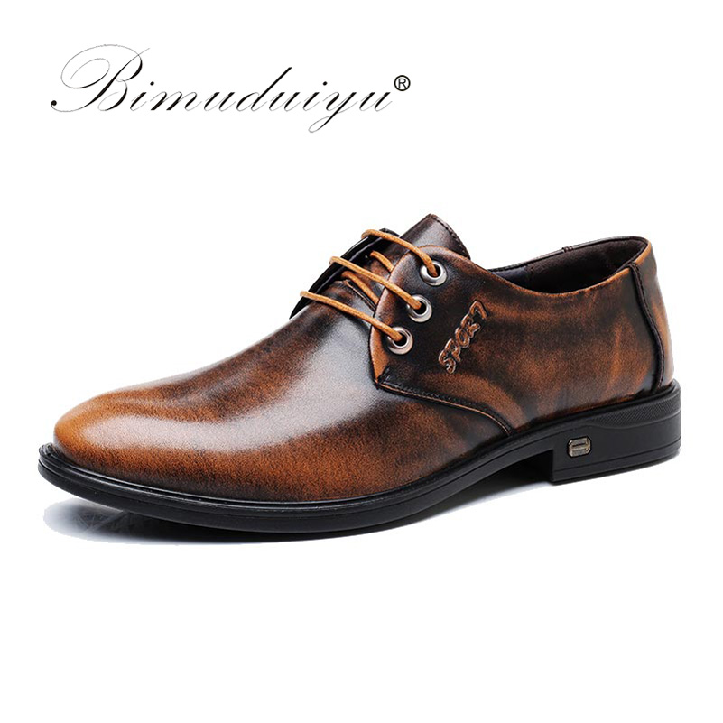 BIMUDUIYU Genuine Leather Men Shoes Business Casual Dress Shoes Patent Leather Brown Black Shoes Round Toe