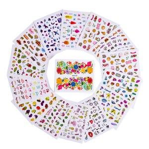 Image 3 - Autocollants pour manucure, motifs mixtes, décalcomanies deau pour Nail Art, fleurs, lapin, dessin animé bricolage même, 45 pièces TRWG45