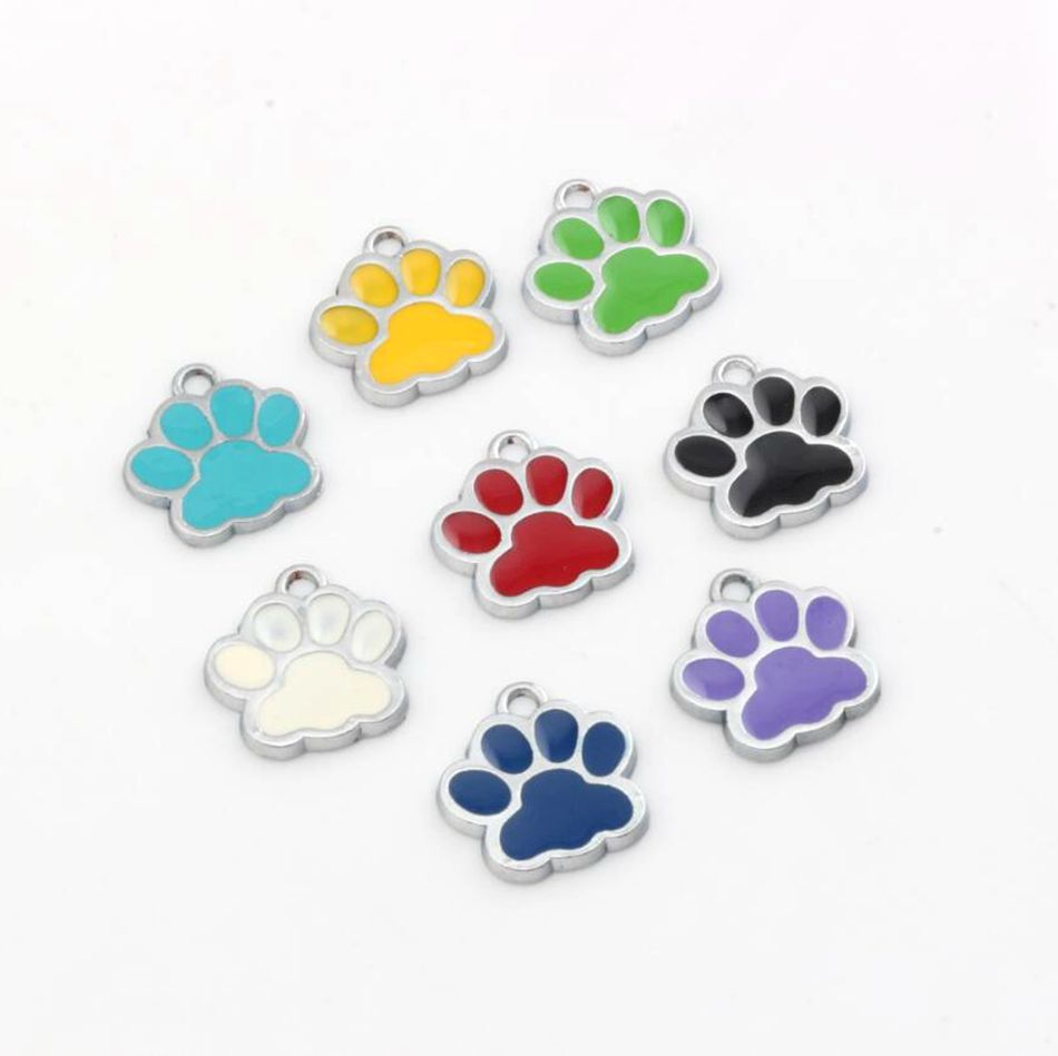 48Pcs Wholesale  Zinc Alloy Mixed color Enamel DOG PAW Charm Pendants 18x16mm ZH6166