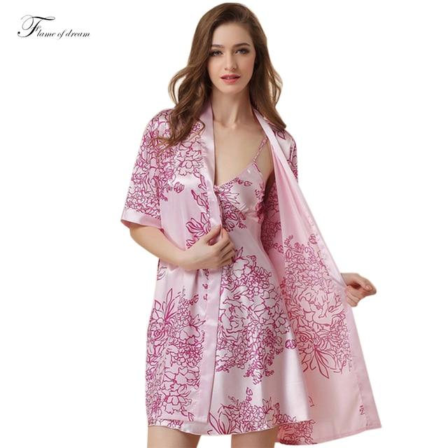 Bath Robe Nightgown Robe Set Womens Silk Nightie Flower Print Nightwear  Girl Dress Summer 293 3ad34c6af