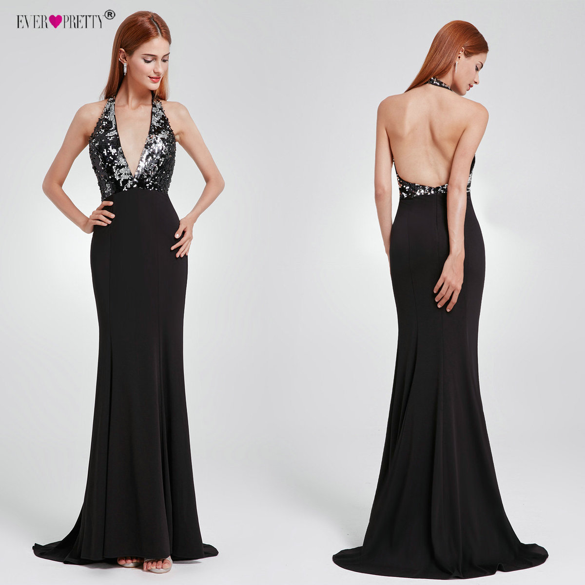 Ever Pretty Evening Dress EP07164 Sexy Open Back Long Sequin Gowns V-Neck Fit Backless Mermaid Party Dresses Robe De Soiree