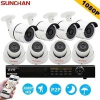SunChan 8CH CCTV System 1080P HDMI AHD 8CH CCTV DVR 8PCS 2 0 MP IR Outdoor