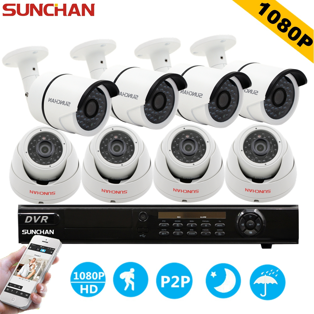 SunChan 8CH CCTV System 1080P HDMI AHD 8CH DVR 8PCS 2.0 MP IR Outdoor Security Camera 3000TVL Camera Surveillance System