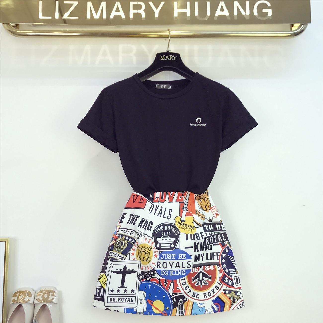 2019 nouveau rétro tissu tenues lâche brodé à manches courtes T-shirt + imprimé jupe ensemble femmes Mini jupes été deux pièces costume