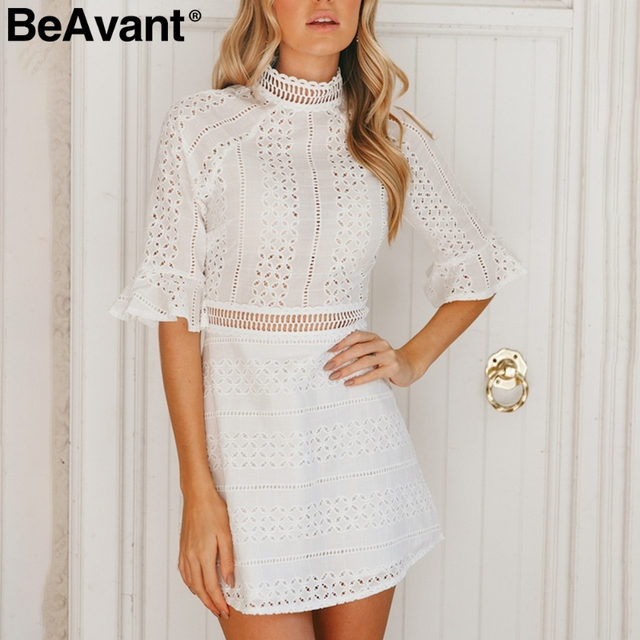 c38f26d73689 BeAvant Hollow out sexy lace dress women Half sleeve ruffles elegant midi  white dress 2018 Casual party summer dress vestidos