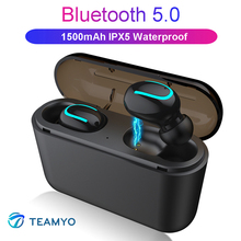 Get more info on the TEAMYO Q32 TWS Bluetooth Earphones 5.0 Automatic Pairing Earbuds Mini Wireless Headset Stereo Earphone with 1500 mAh Power bank