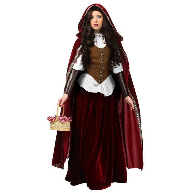 Deluxe Medieval Woman Red Riding Hood Costume Puts You Into The Lead Role In Adventure Fairy Tale Unique Halloween Cosplay