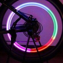 1pc Cool Bike Bicycle Wheel Tire Air Valve Stem Cap Multi Color LED Lights Safe Flashlight Metal Safety Dark Night Lighting