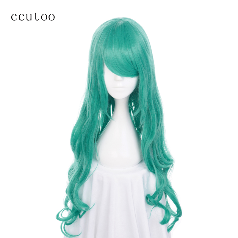 ccutoo 80cm/32inch Green Wavy Long Synthetic Hair Wigs Sailor Moon Neptune Kaiou Michiru Cosplay Full Wig Heat Resistance