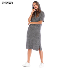PGSD Summer Simple Fashion casual Women Clothes solid color O-neck Short-sleeved loose Side fork hooded Dress Pullover female