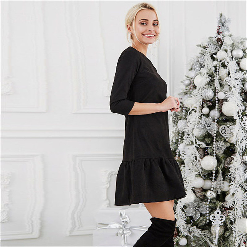 Fall 2018 Women Suede Casual Three Quarter Sleeve T Shirt Mini Dress Autumn Winter Fashion Vintage Ruffle Christmas Dresses 5